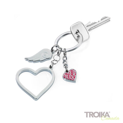 "TROIKA Keyring with 3 charms ""LOVE IS IN THE AIR"""