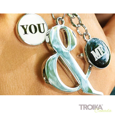 "TROIKA Keyring with 3 charms ""YOU & ME"""