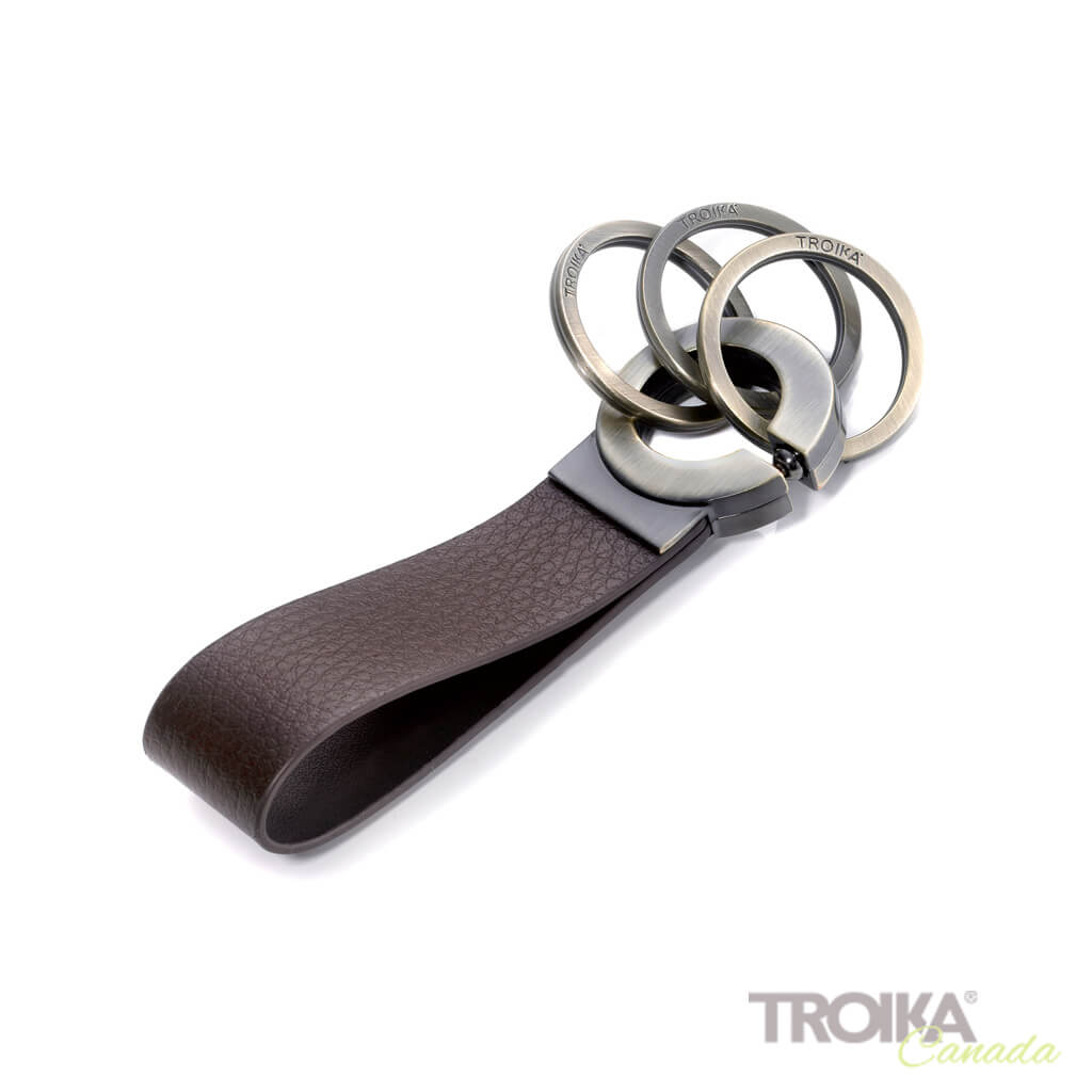 "TROIKA Keychain ""KEY-CLICK"" - BROWN"