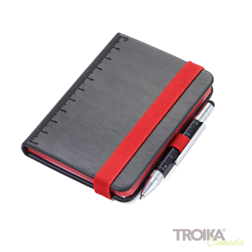 TROIKA Notepad DIN A7 incl. ballpoint pen LILIPUT - black-red