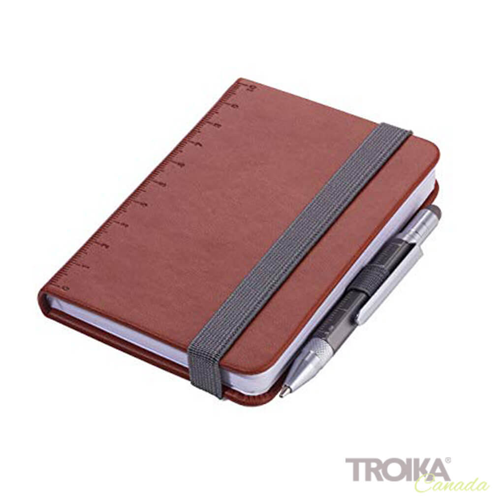 TROIKA Notepad DIN A7 incl. ballpoint pen LILIPUT - brown