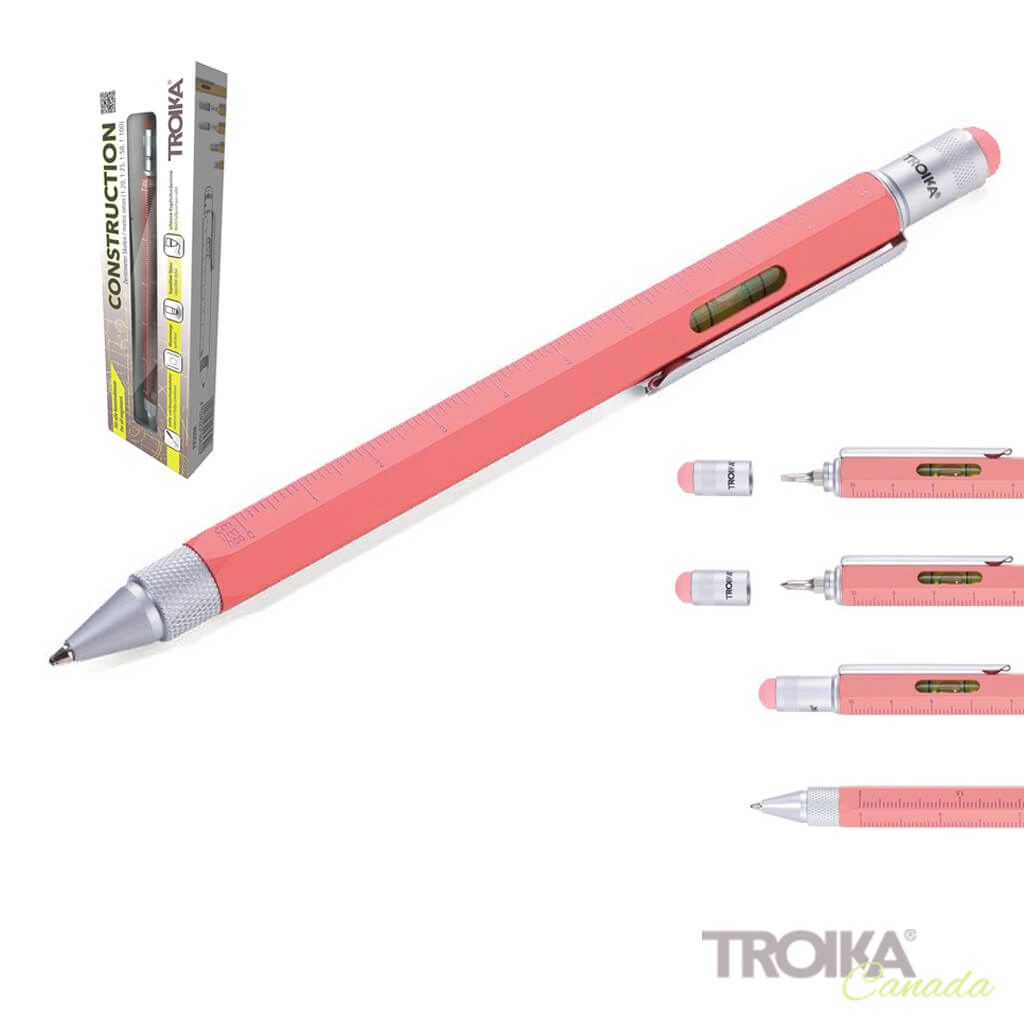 "TROIKA MULTITASKING BALLPOINT PEN ""CONSTRUCTION"" - CORAL"
