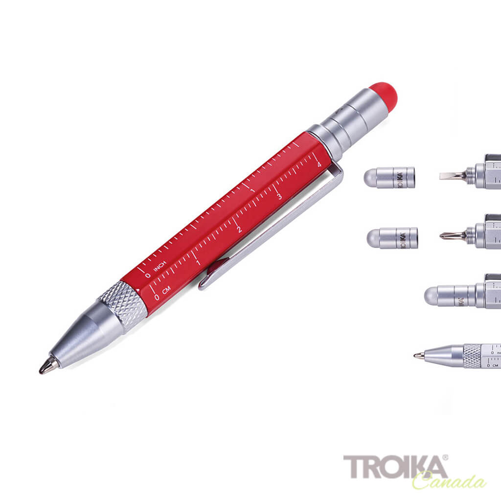 "TROIKA Multitasking ballpoint pen ""CONSTRUCTION LILIPUT"" - small red"
