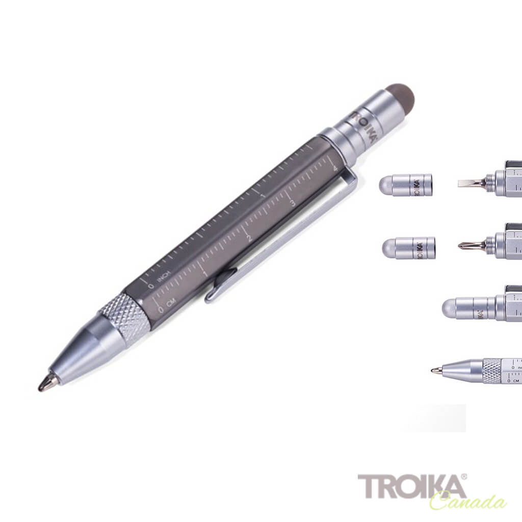 "TROIKA Multitasking ballpoint pen ""CONSTRUCTION LILIPUT"" - small titanium"