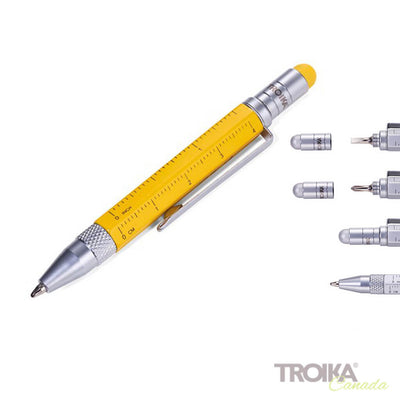 "TROIKA Multitasking ballpoint pen ""CONSTRUCTION LILIPUT"" - small yellow"