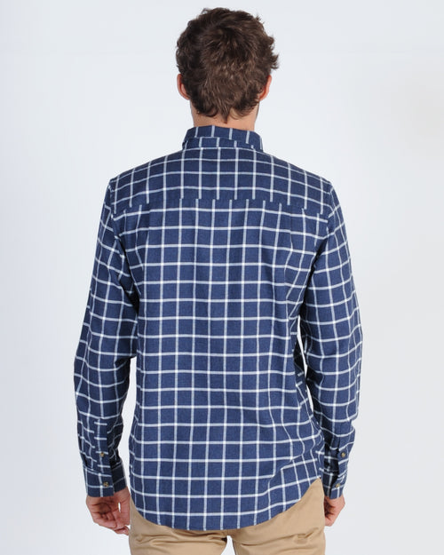 Academy Warner L/S Check Shirt - Navy/White