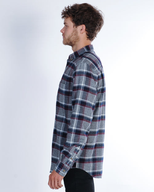 Academy Wolfgang L/S Check Shirt - Grey/Burgundy