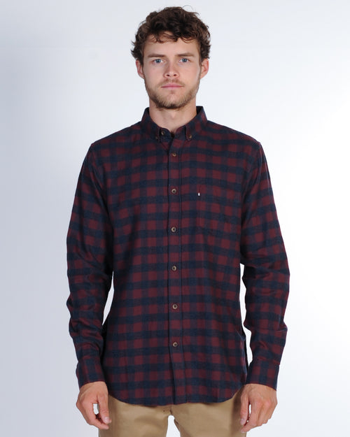 Academy Woodlands L/S Check Shirt - Burgundy