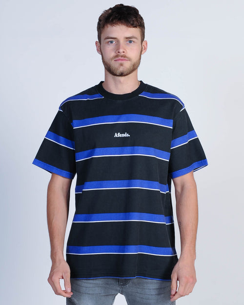 Afends Port Retro Stripe Tee - Royal Blue