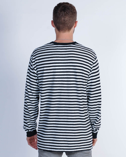 Afends Commune Stripe L/S Tee - Black