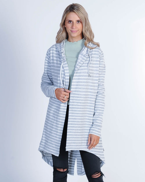 Silent Theory Ashleigh Hood Cardi Sweat - Grey/White Stripe