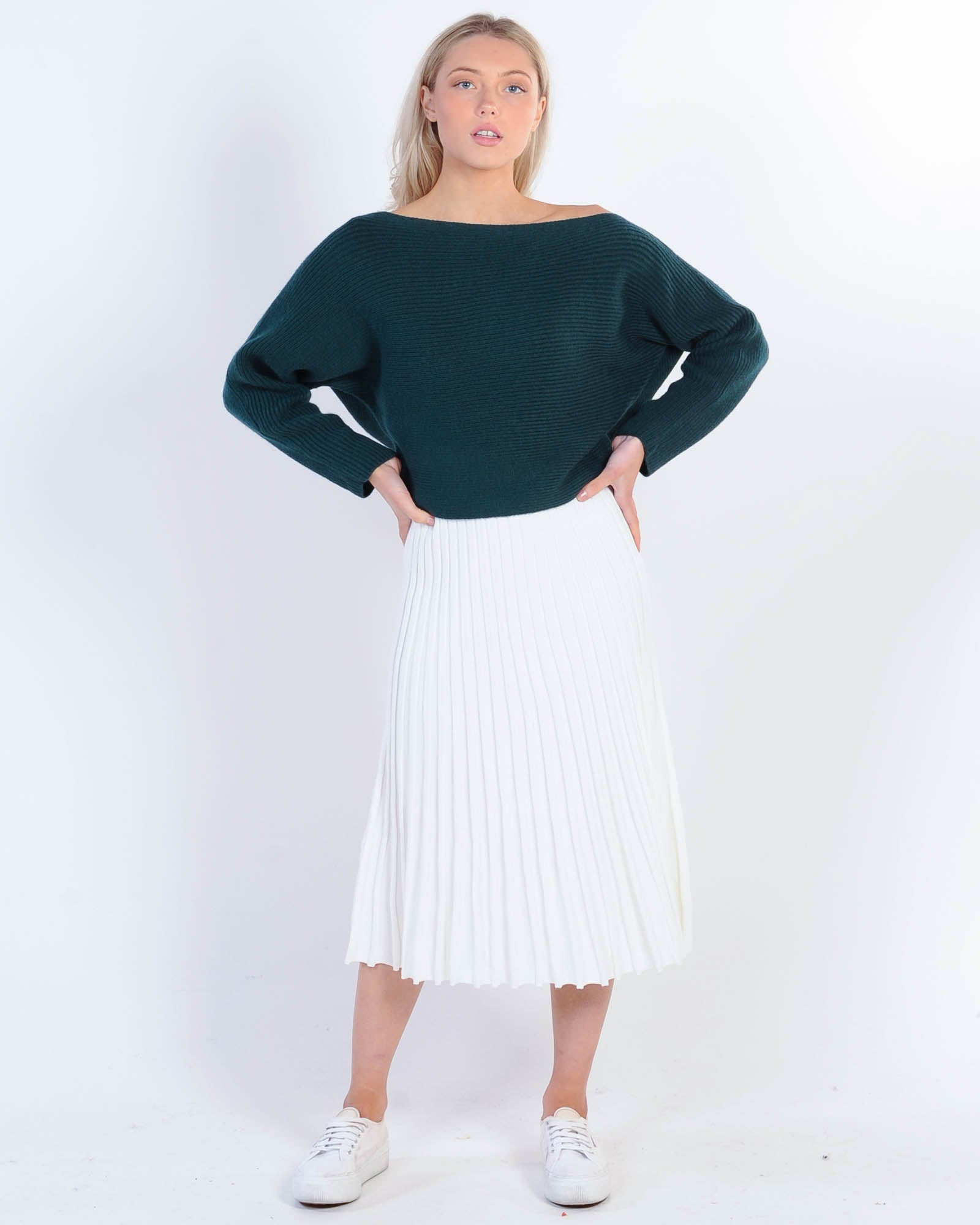 Make A Move Drop Shoulder Knit - Emerald