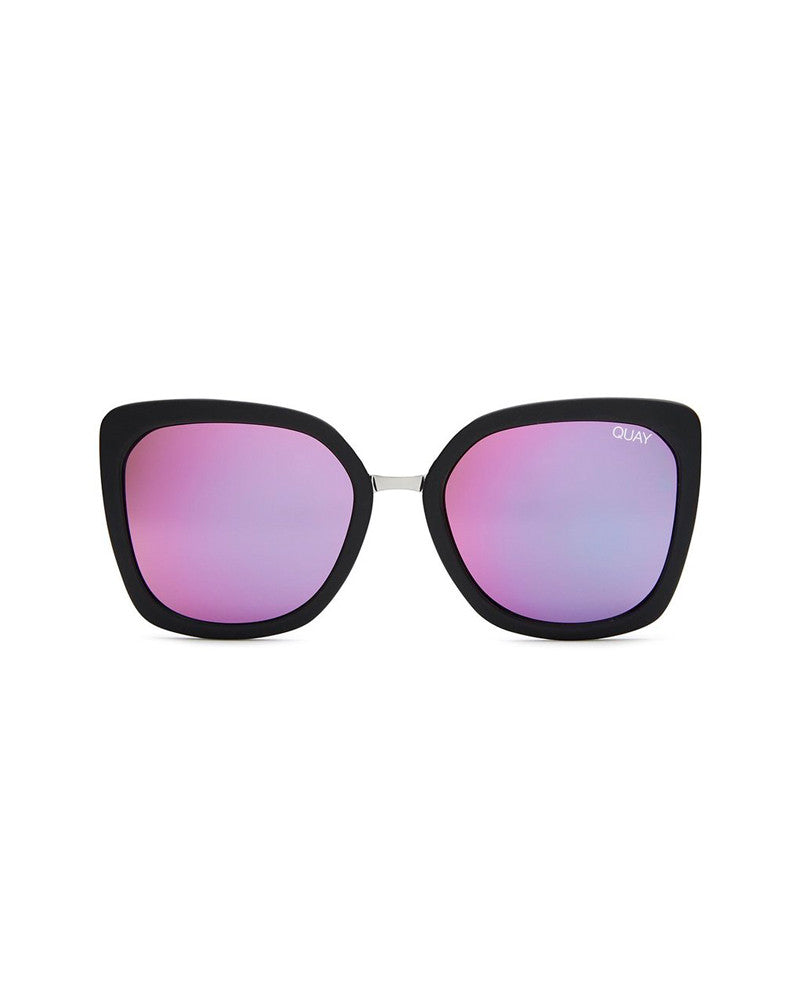 QUAY CAPRICORN SUNNIES - BLACK/PINK MIRROR