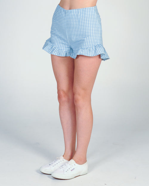 MINK PINK TOTO GINGHAM CHAMBRAY SHORTS - CHAMBRAY/WHITE