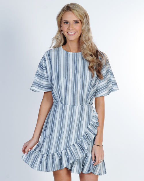 The Fifth Label Guide Stripe Dress - Navy Ivory