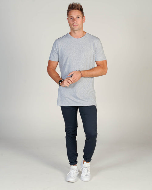 Industrie Cotton Basic Tee - Light Grey Marle