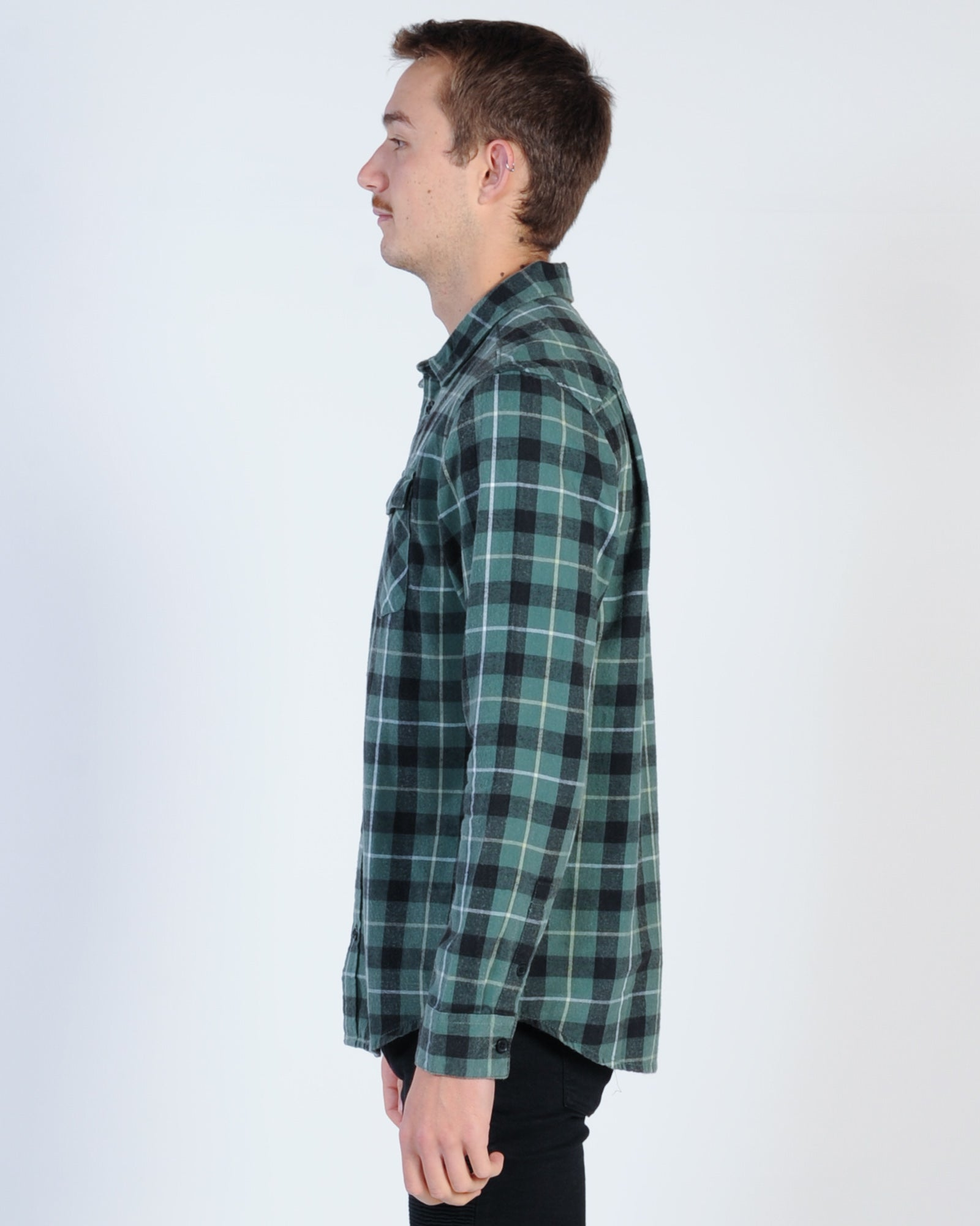 Rvca Treets L/S Check Shirt - Green