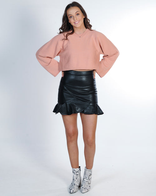 Under The Influence Leather Skirt - Black