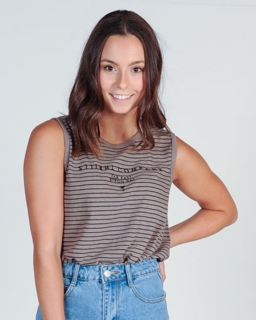 THRILLS DESERT STRIPE MUSCLE TOP - CLAY