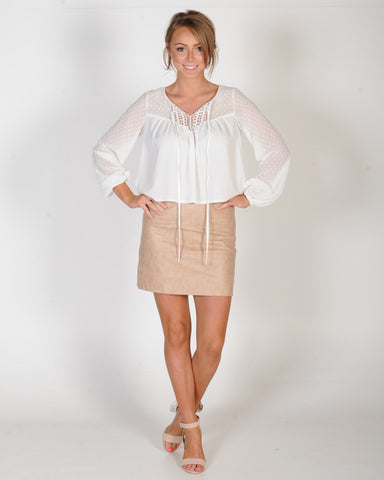 INSPIRE ME LEATHER SKIRT - BEIGE