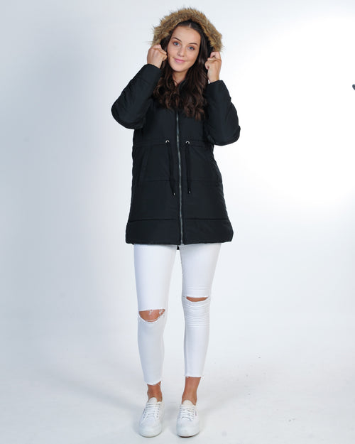 All About Eve Hitch Hike Puffer Jacket - Black