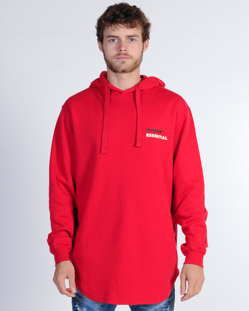 Wndrr Disperse Curved Hem Hood Sweat - Red