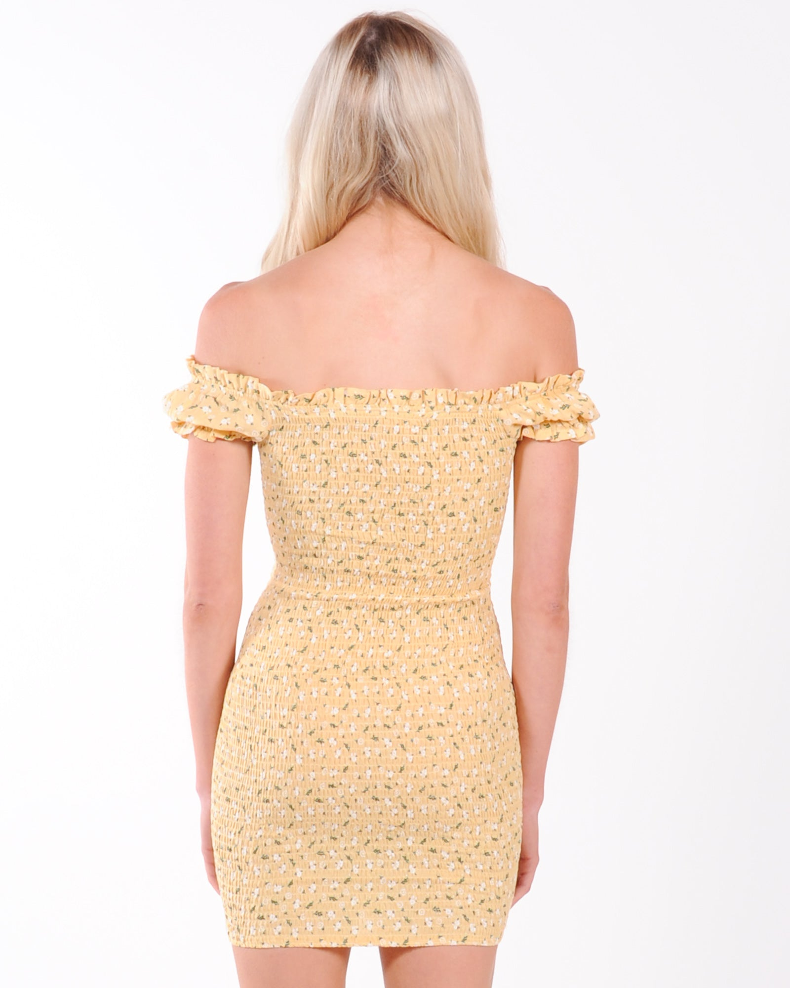 Alexis Floral Mini Dress - Yellow