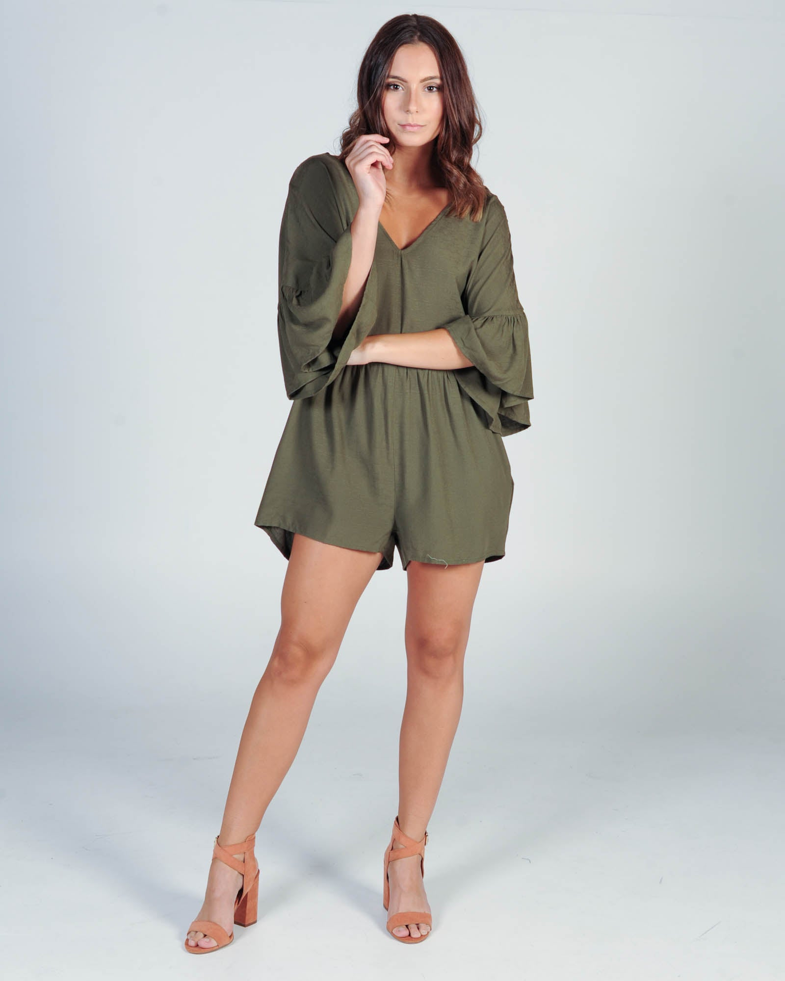 MINK PINK UNCHARTTED BOXY PLAYSUIT - KHAKI