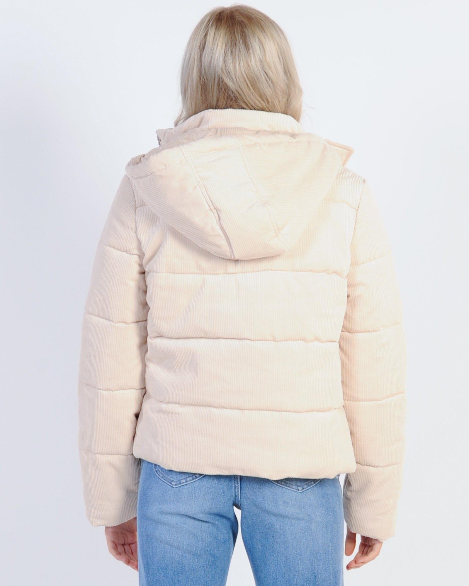 All About Eve Cali Cord Puffer Jacket - Vintage White ...