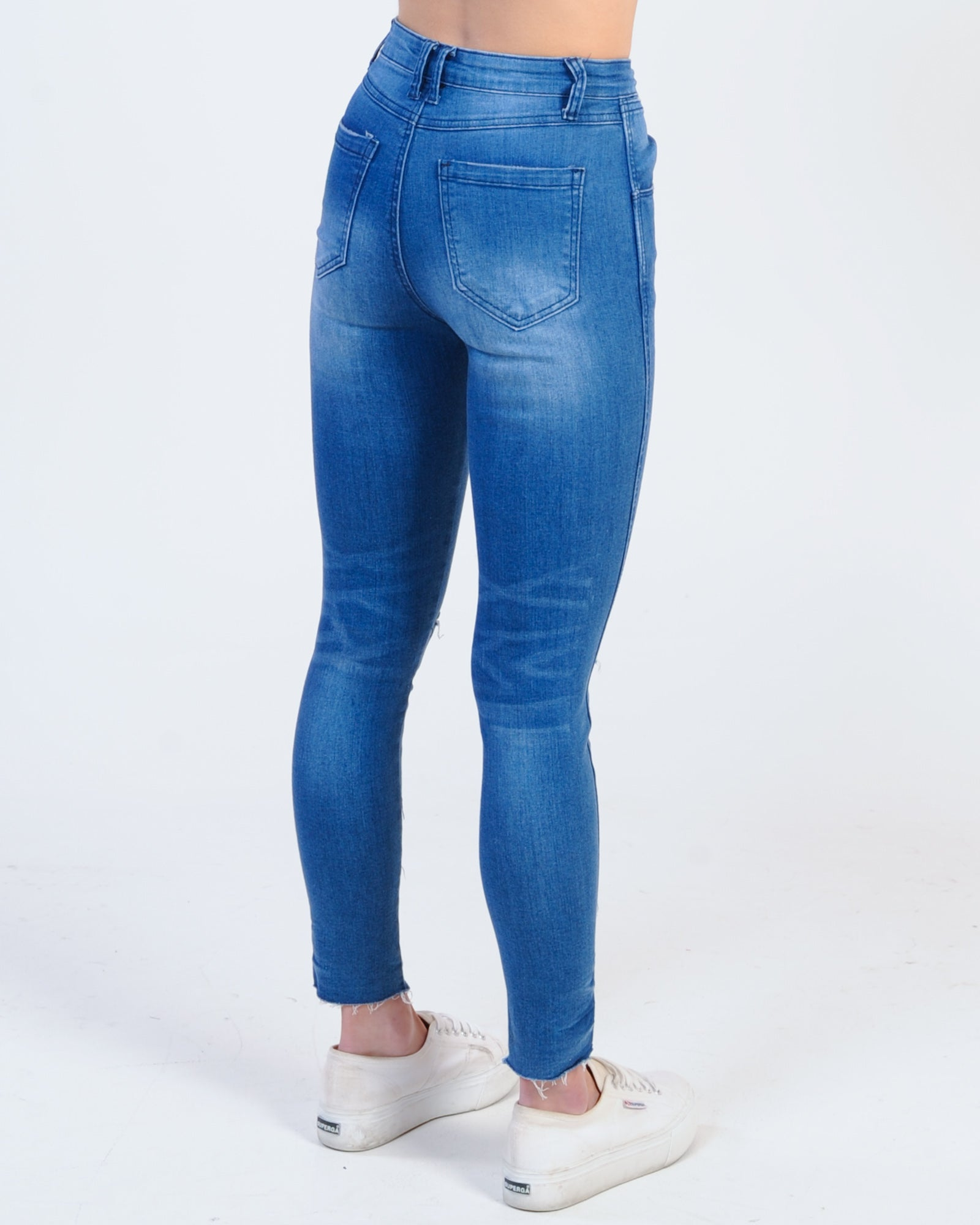 La High Waisted 3/4 Jean - Blue