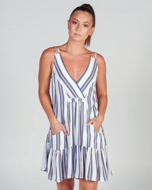 MADISON SQUARE SAHARA SWING DRESS - BLUE STRIPE
