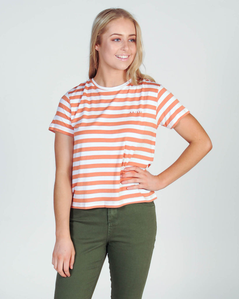 MINK PINK STOCKHOLM STRIPE TIE SIDE TEE - CREAM