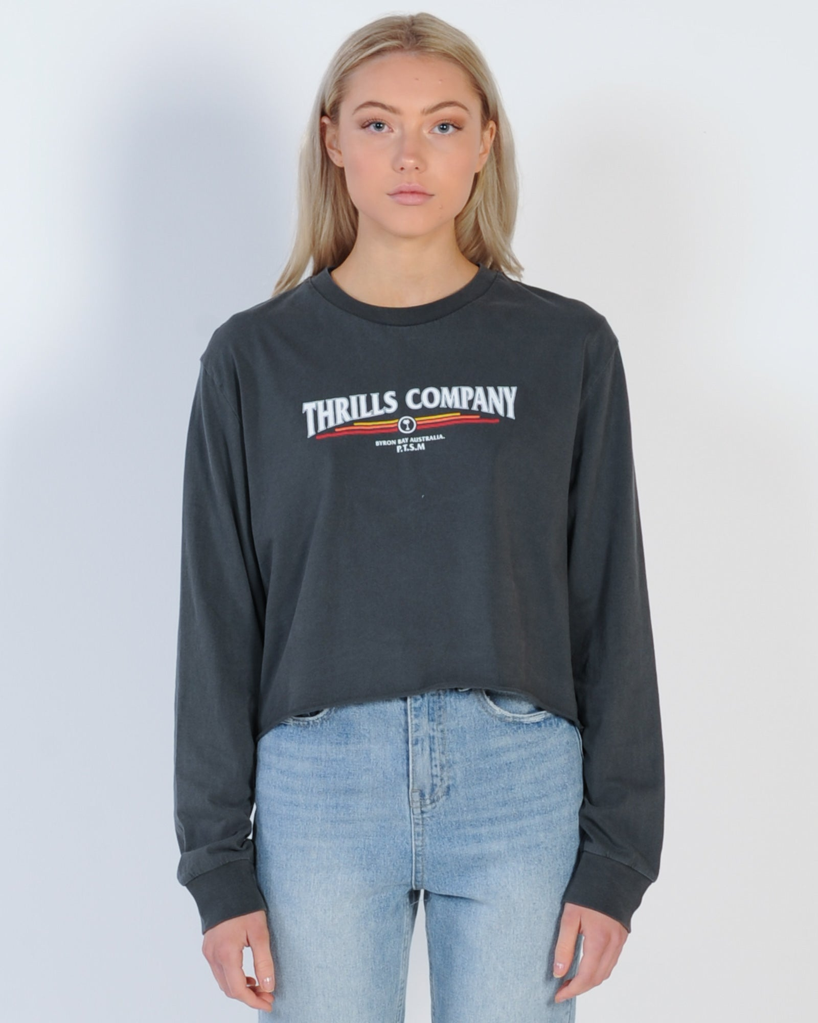 Thrills Redline L/S Crop Tee - Merch Black