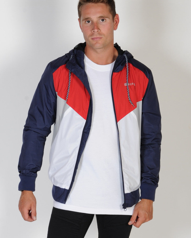 NENA & PASADENA TRACK-STAR HOODED TRACK JACKET - RED WHITE & BLUE
