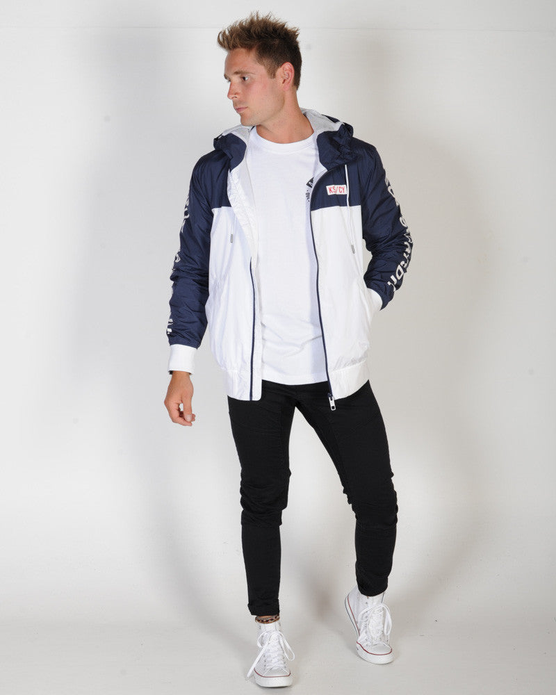 KISS CHACEY DIVISION HOODED JACKET - NAVY & WHITE