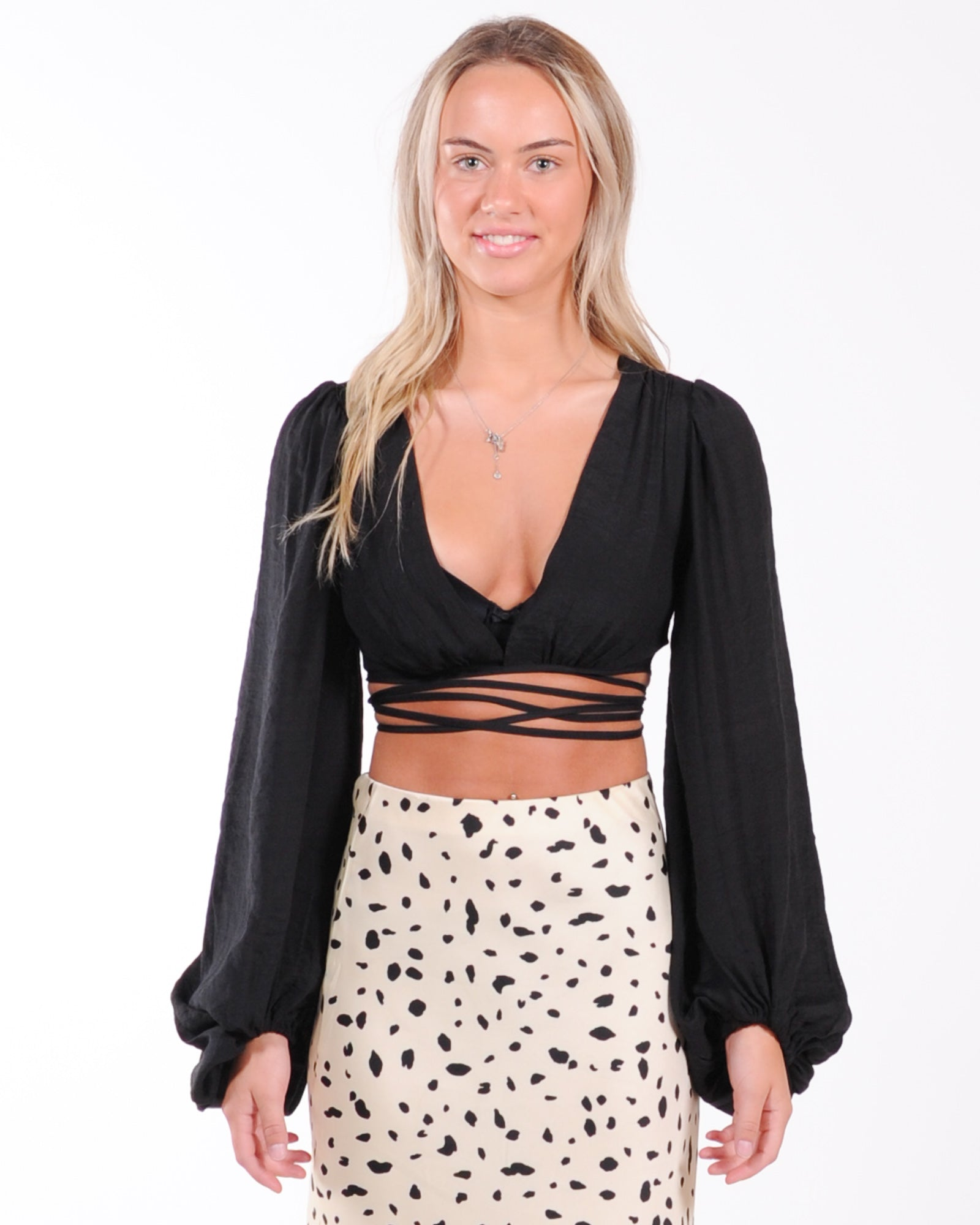 Twisted Love Wrap Top - Black