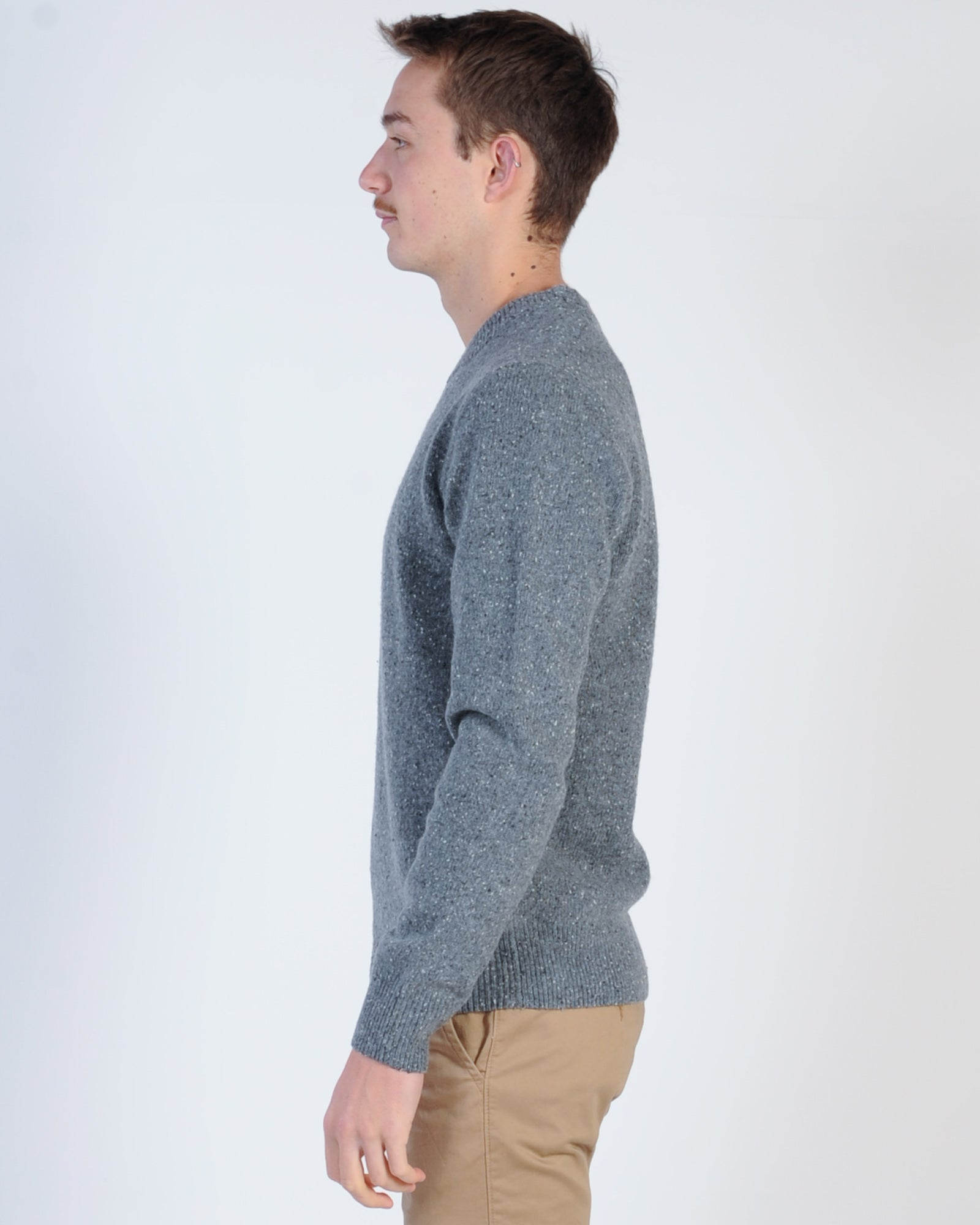 Academy Shoreditch Crew Knit Jumper - Quarry Fleck