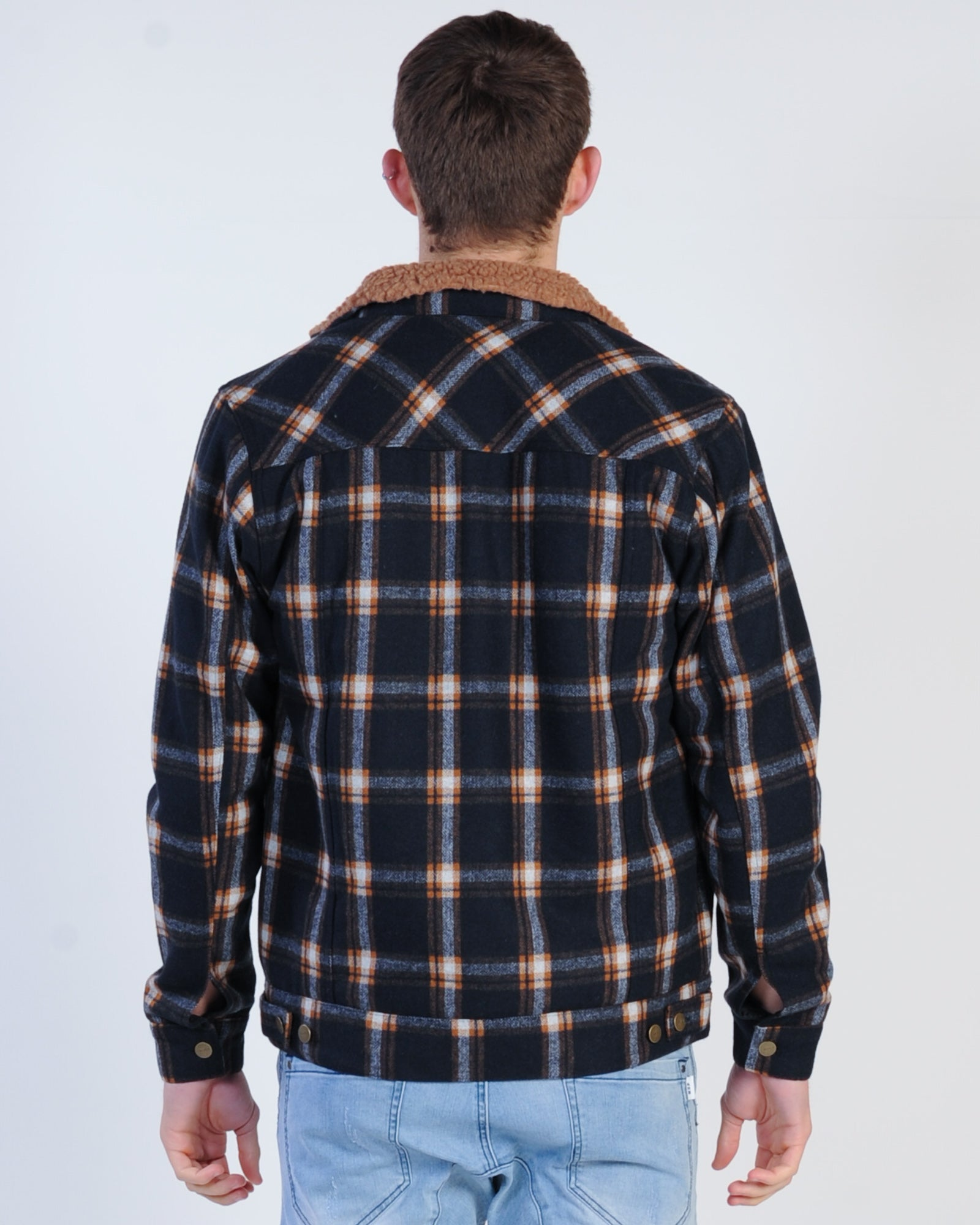 Rvca Daggers Plaid Sherpa Jacket - New Navy