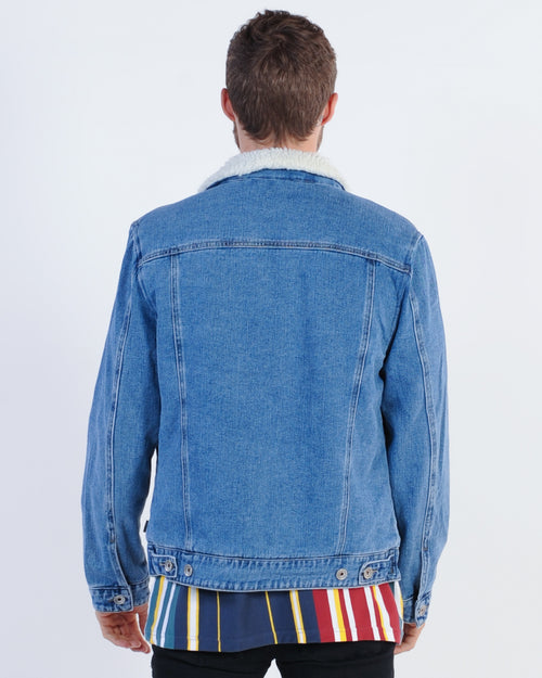 Silent Theory Jefe Denim Sherpa Jacket - Vintage Blue