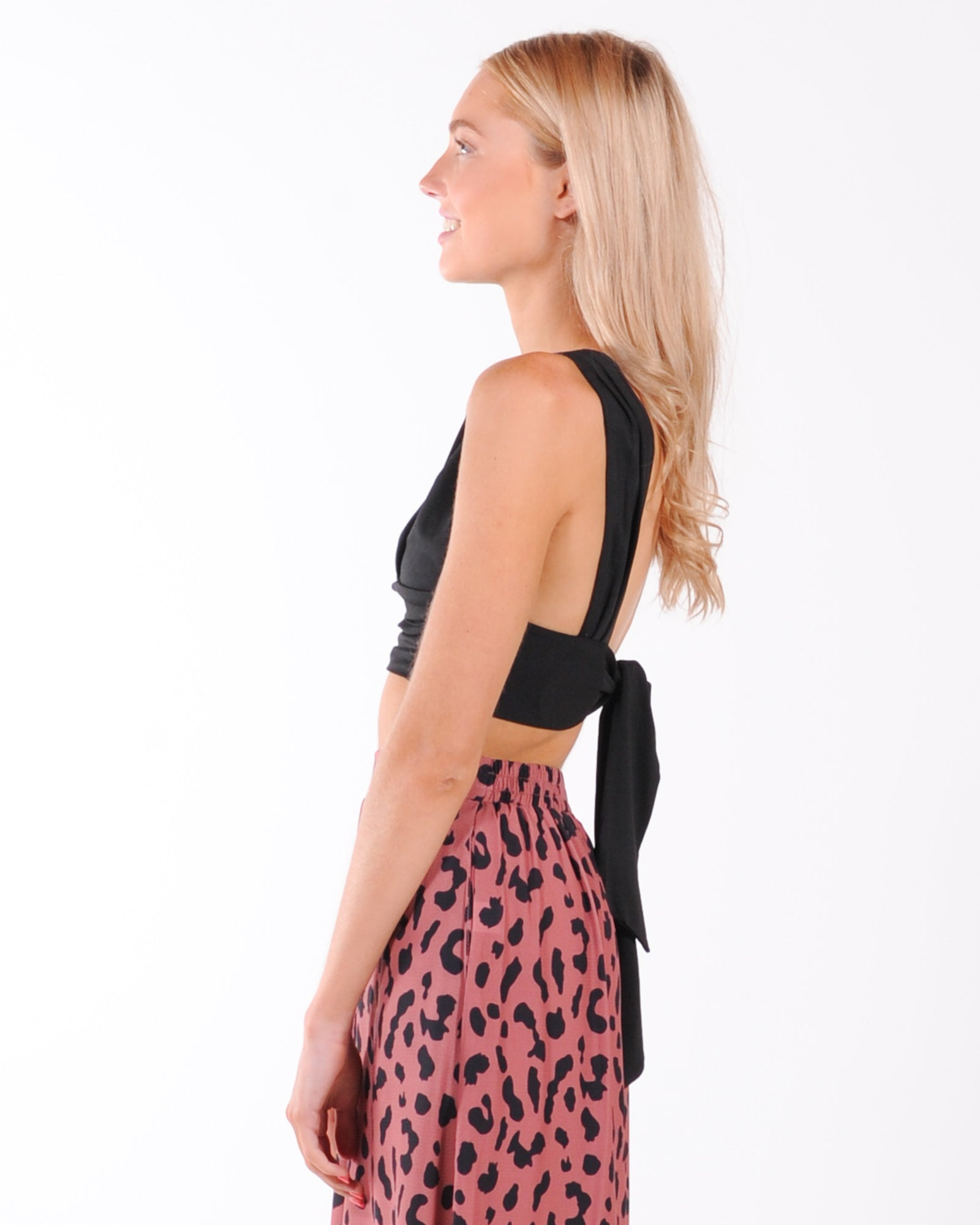 Cocktail Hour Tie Back Top - Black