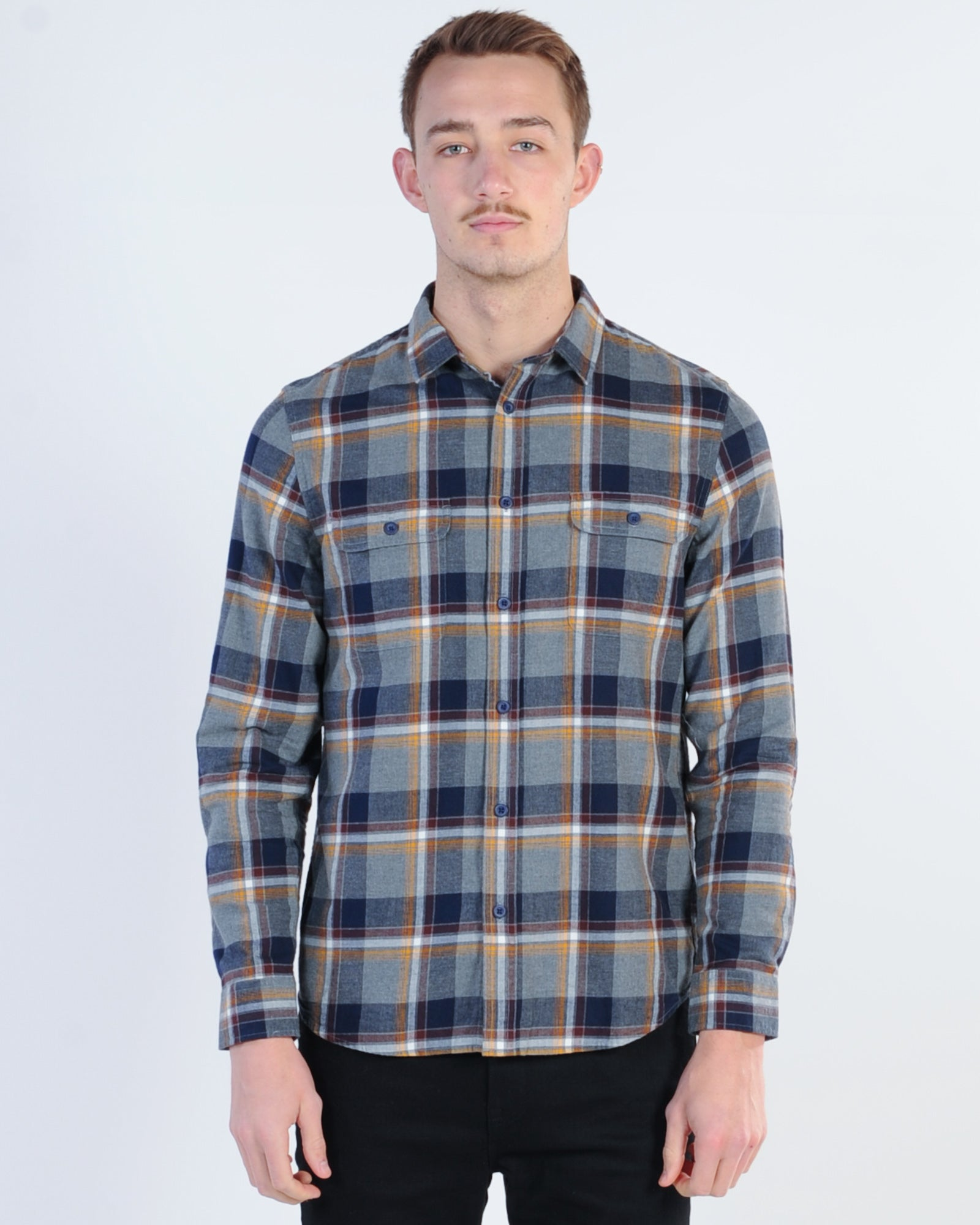 Academy York L/S Check Shirt - Grey