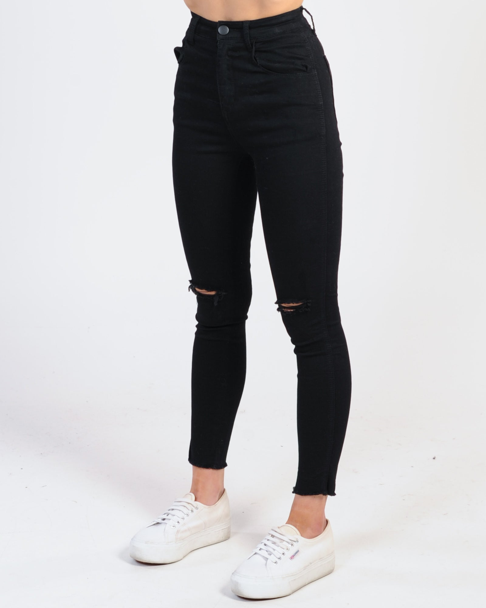 La High Waisted 3/4 Jeans - Black