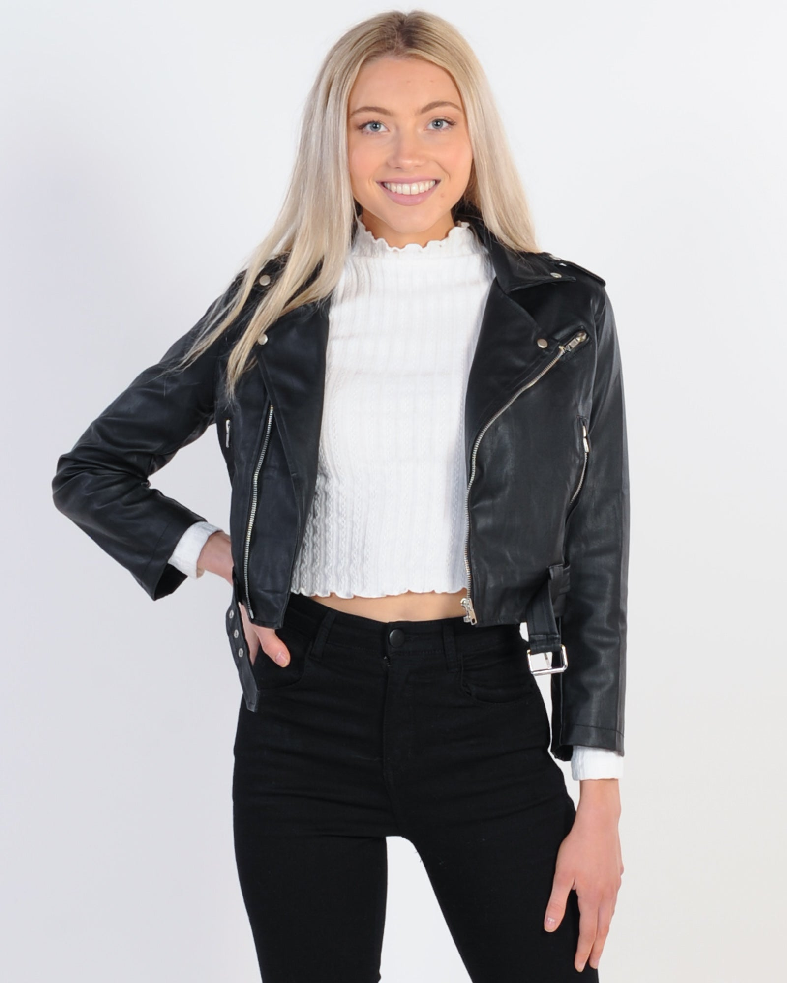 Anarchy Cropped Faux Leather Jacket - Black