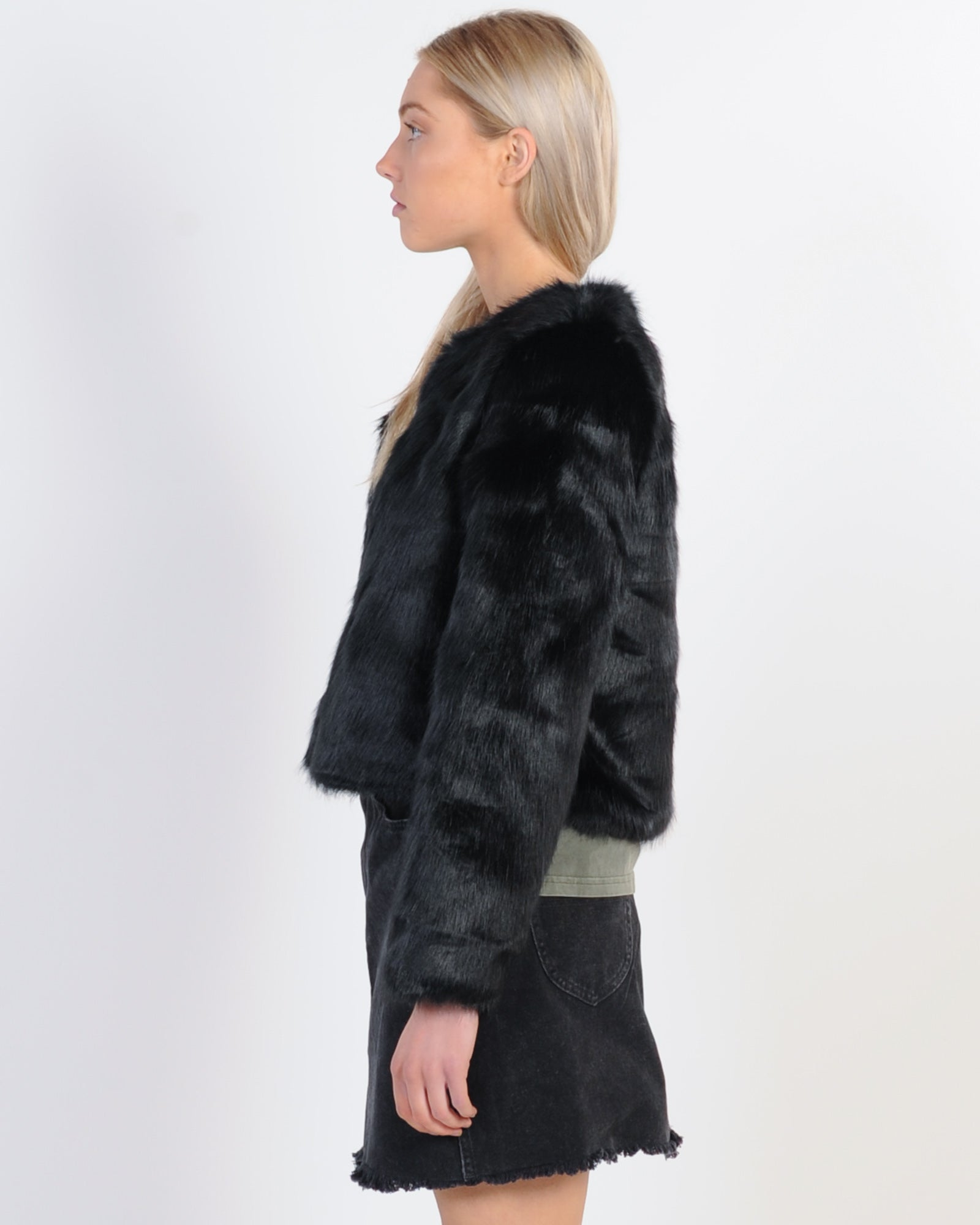 On The Prowl Faux Fur Jacket - Black