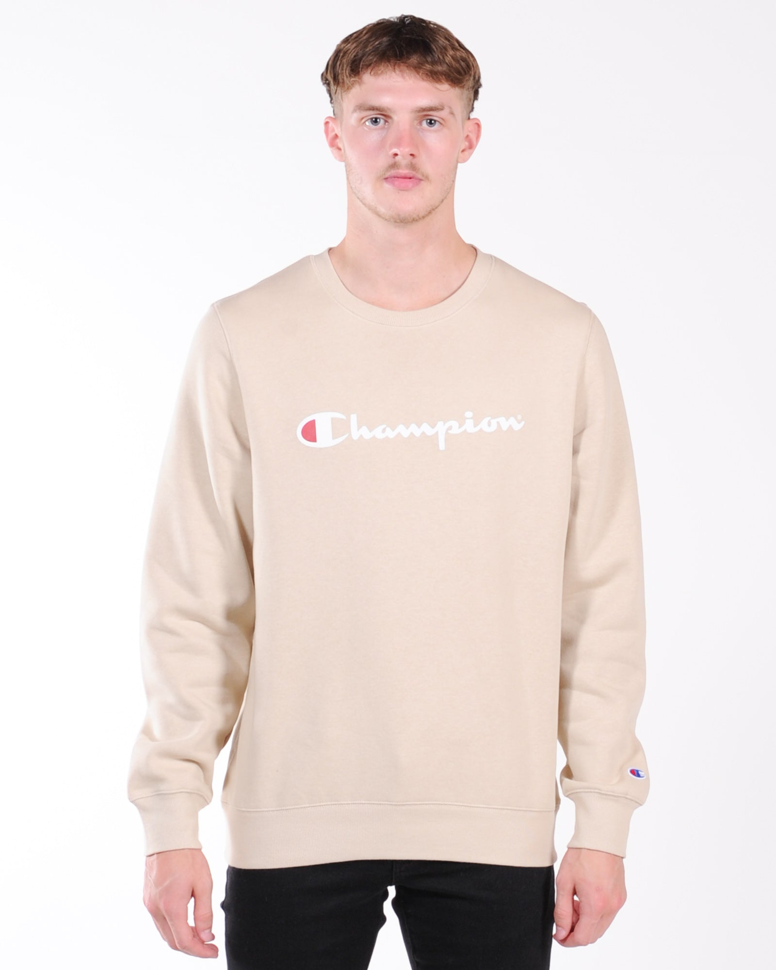Champion Script Crew Sweat - Still Beige