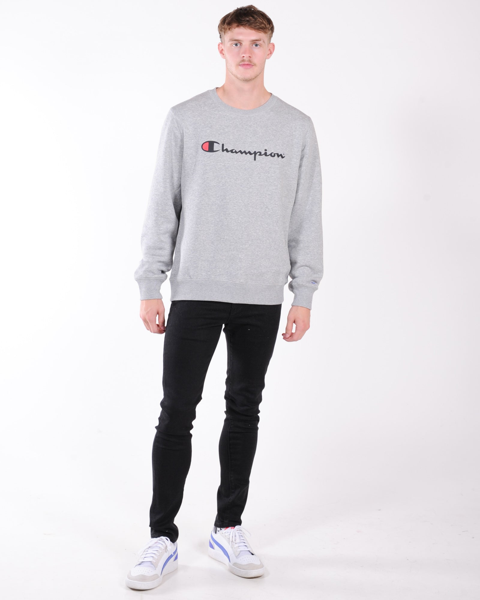 Champion Script Crew Sweat - Oxford Heather