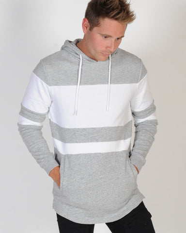 INDUSTRIE DIMEBACK HOOD SWEAT - GREY MARLE/WHITE
