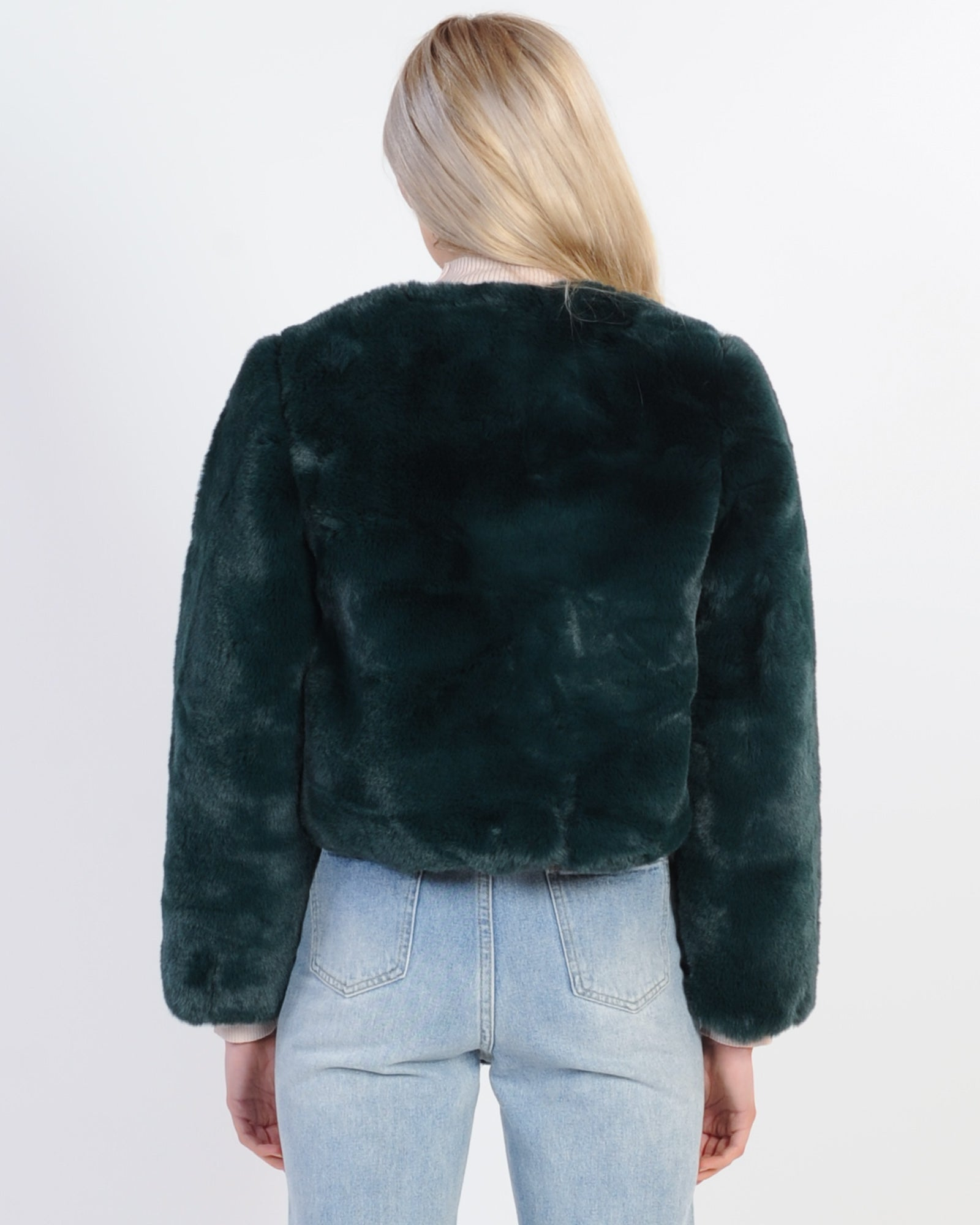 On The Prowl Faux Fur Jacket - Green