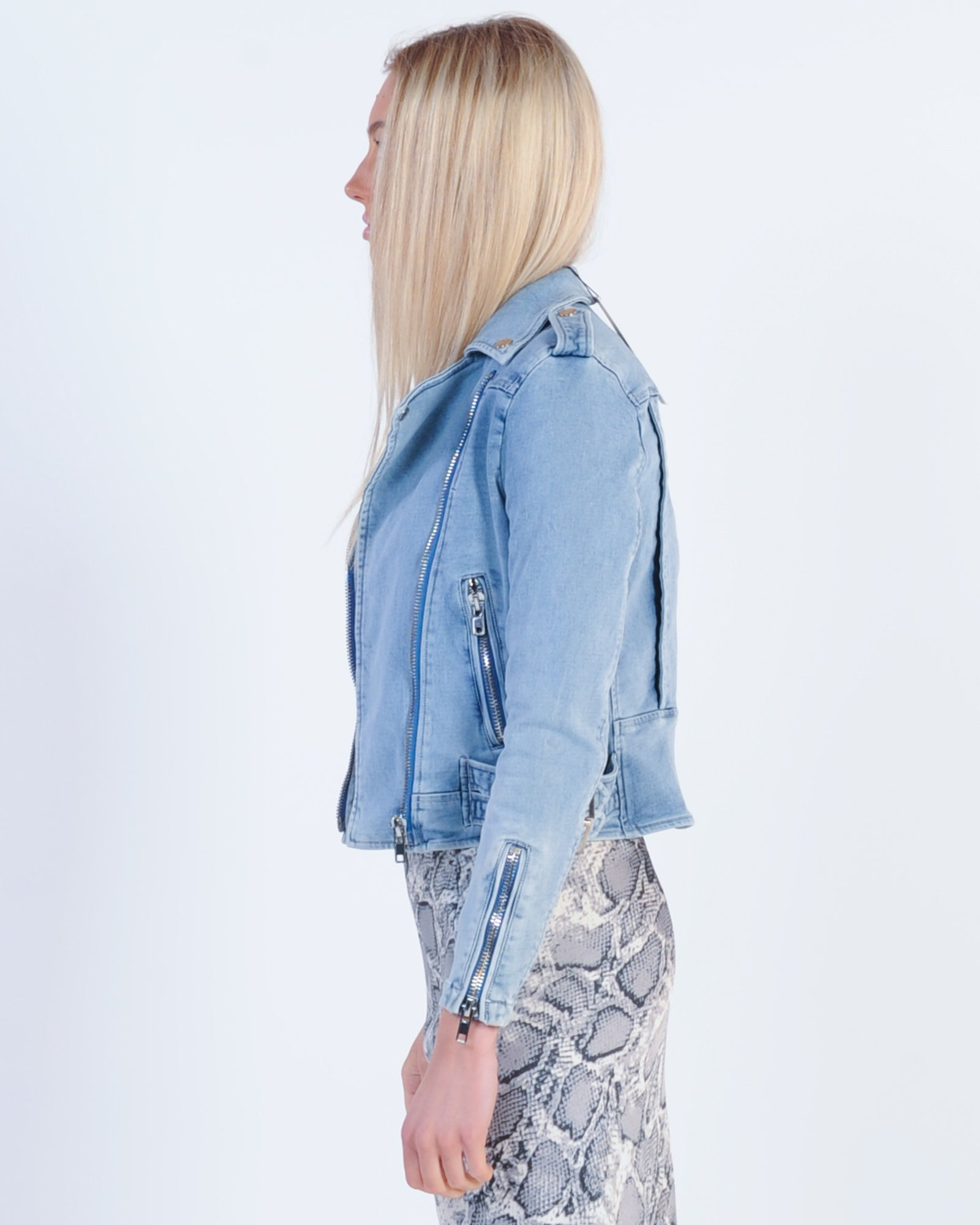 Madison The Label Avery Denim Biker Jacket - Denim