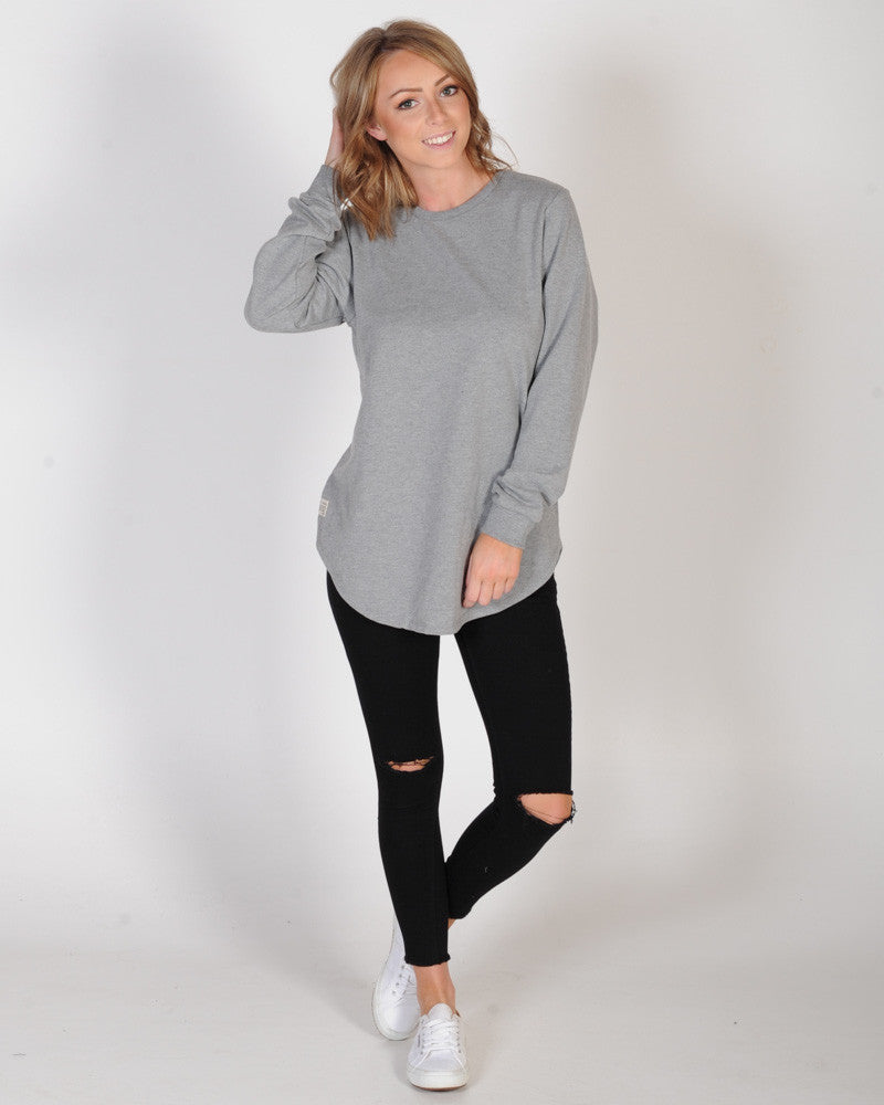 ALL ABOUT EVE LONGLINE JUMPER - GREY MARLE